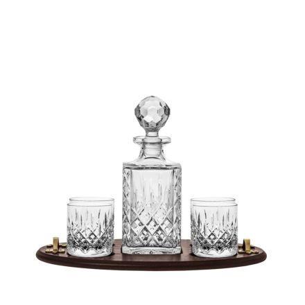 Edinburgh Club Gin Tray Set ( Square Decanter & 4 Large Gin Tumblers on a Wooden Tray)