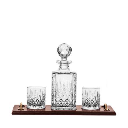 Edinburgh Gin Crystal Tray Set - (Square Decanter & 2 Large Tumblers on a Wooden Tray)