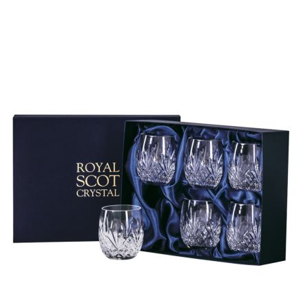 Highland Crystal 6 Gin & Tonic Tumblers (G&T) 12oz,95mm (Barrel Shaped) (Presentation Boxed) | Royal Scot Crystal