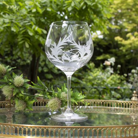 Flower of Scotland (Thistle) - Gin and Tonic (G&T) Copa Glass 210mm (Gift Boxed) | Royal Scot Crystal