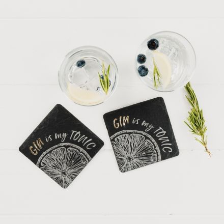 2 Gold Gin is my Tonic Coasters, 11cm  | James Pirie