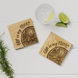 2 Gin is my Tonic Oak Coasters 11cm | James Pirie