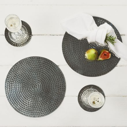 2 Stainless Steel Flat Hammered Place Mats