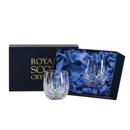 London - 2 Crystal Gin & Tonic (G&T) Tumblers 12oz (Barrel Shaped) - 95mm (Presentation Boxed) | Royal Scot Crystal