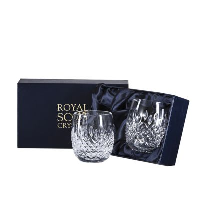 Mayfair Crystal 2 Gin & Tonic Tumblers 12oz (Barrel Shaped) - 95mm (Presentation Boxed) | Royal Scot Crystal