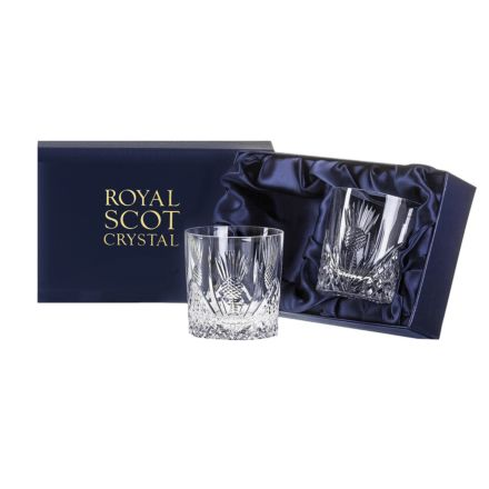 Scottish Thistle 2 Large Gin & Tonic Tumblers (Presentation Boxed)