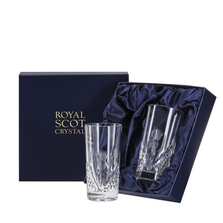 Scottish Thistle 2 Tall Gin & Tonic Tumblers (Presentation Boxed)