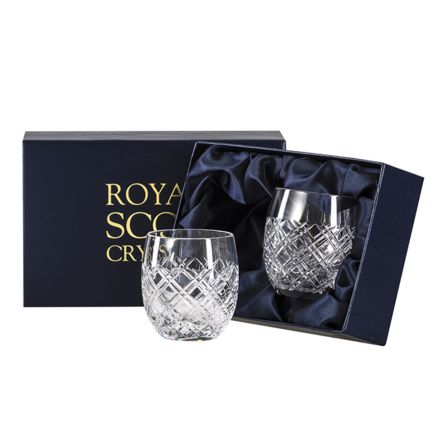 Tartan Crystal 2 Gin & Tonic Tumblers (G&T) 12oz (Barrel Shaped) - Presentation Boxed