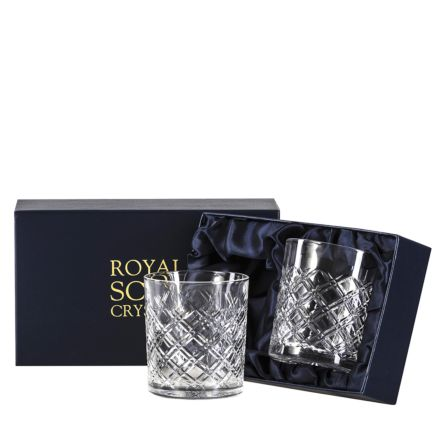Tartan - 2 Crystal Large Gin & Tonic Tumblers (Presentation Boxed)