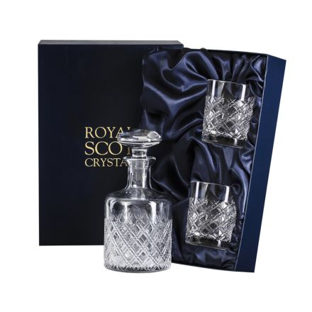 Tartan Crystal Round Gin Set Decanter & 2 Crystal Tumblers (Presentation Boxed)