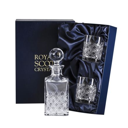 Tartan Crystal Square Spirit Gin Set - Decanter & 2 Crystal Tumblers (Presentation Boxed)