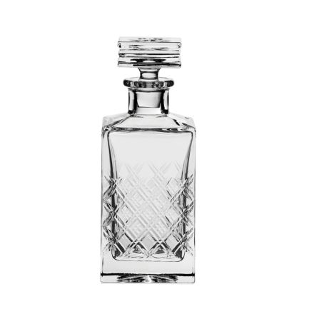 Tartan Crystal Square Gin Decanter - Gift Boxed
