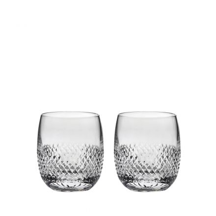 Tiara - Crystal 2 Gin & Tonic (G&T) Tumblers (Barrel Shaped) 95mm (Gift Boxed) | Royal Scot Crystal